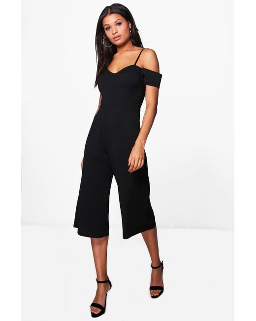 4df007f439d Boohoo - Black Off The Shoulder Culotte Jumpsuit - Lyst ...