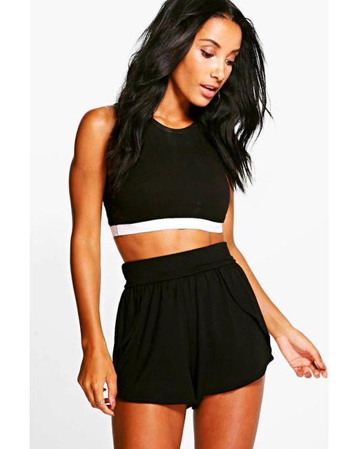 Boohoo - Black Lolah Wrap Over Jersey Shorts - Lyst