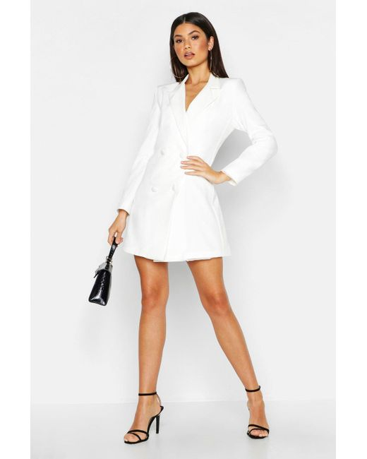 13a3418ab3d8 Boohoo - White Woven Long Sleeve Cover Button Blazer Dress - Lyst ...