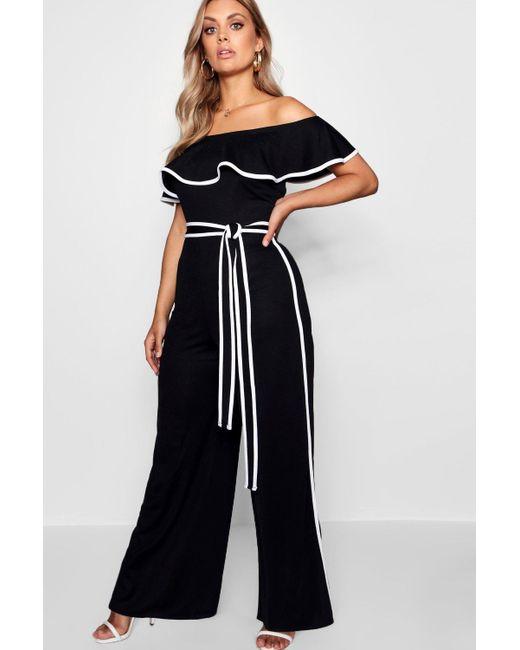 Boohoo - Black Plus Anna Contrast Binding Bardot Jumpsuit - Lyst