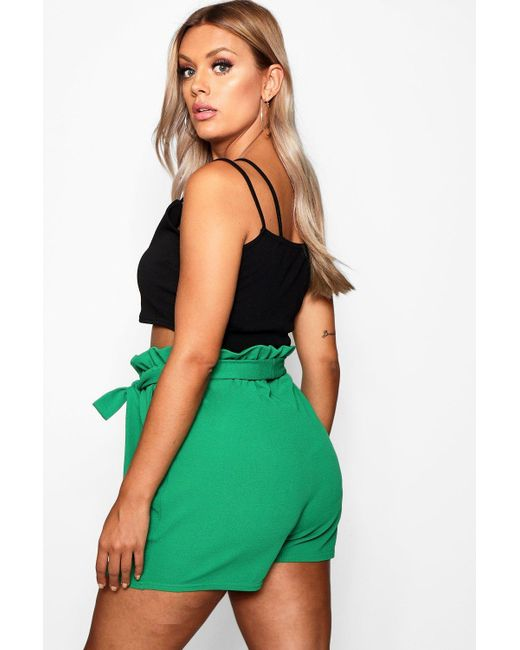 88da99fab5d0 ... Boohoo - Multicolor Plus Belted Paperbag Shorts - Lyst