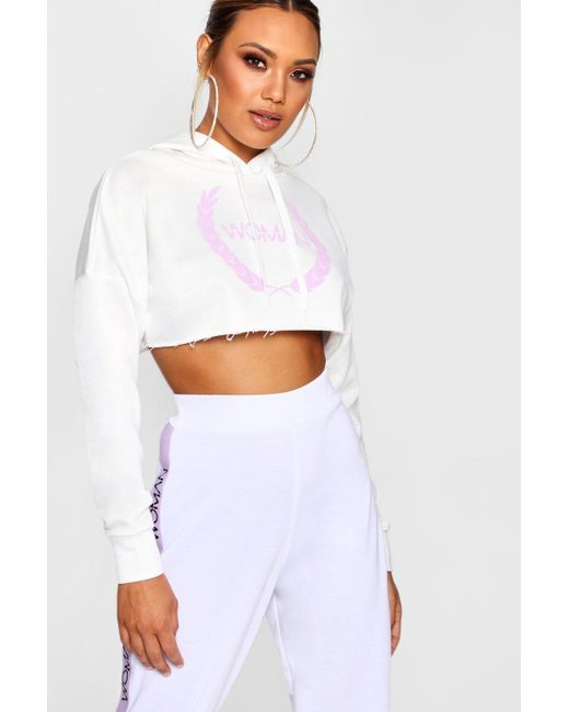 Boohoo - White Woman Print Cropped Hoody - Lyst