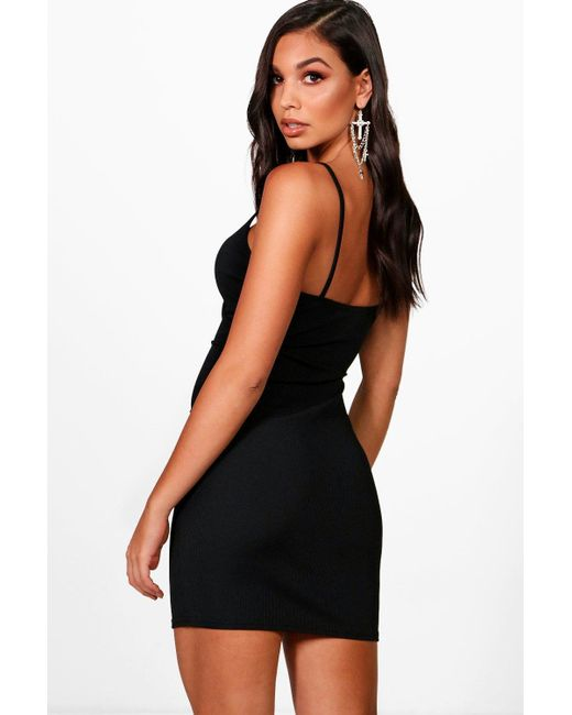 784452d1f8e0 ... Boohoo - Black Ribbed Strappy Wrap Front Bodycon Dress - Lyst