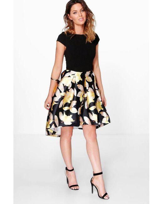 Boohoo | Black Boutique Dory Floral Sateen Dip Hem Skater Dress | Lyst