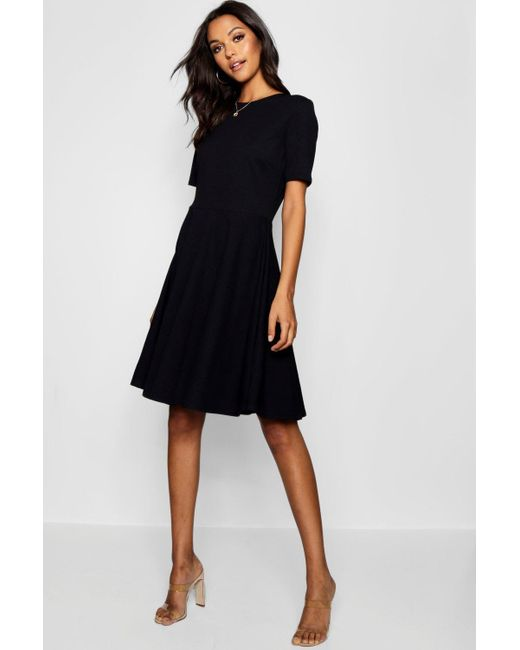 fae08f47c37d Boohoo - Black Tall Short Sleeve Skater Dress - Lyst ...
