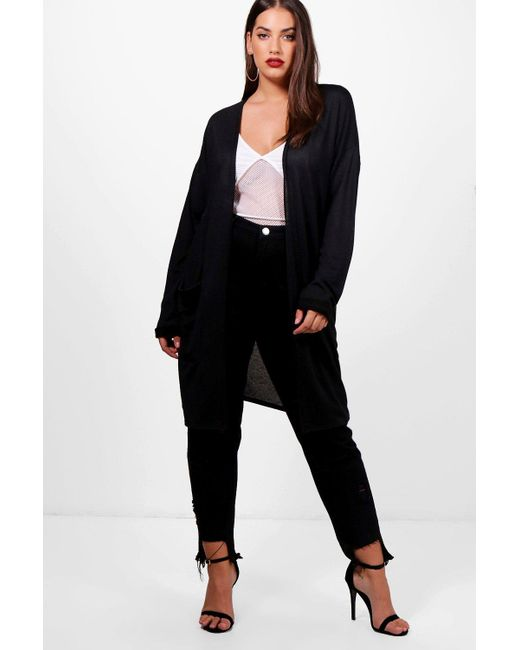 Boohoo Plus Becca Longline Pocket Cardigan in Black | Lyst