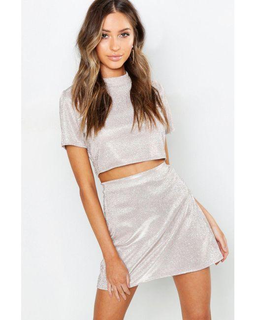 9c55fc4b5c Boohoo - Multicolor Petite Glitter Sparkle A-line Mini Skirt - Lyst ...