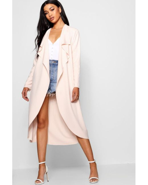 Boohoo - Pink Waterfall Duster - Lyst