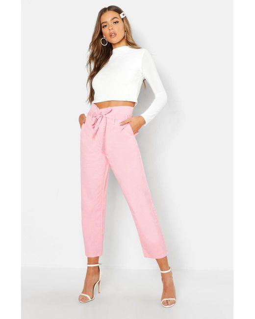 3880f83e78cb Boohoo - Pink Tie High Waist Boyfriend Jean - Lyst ...