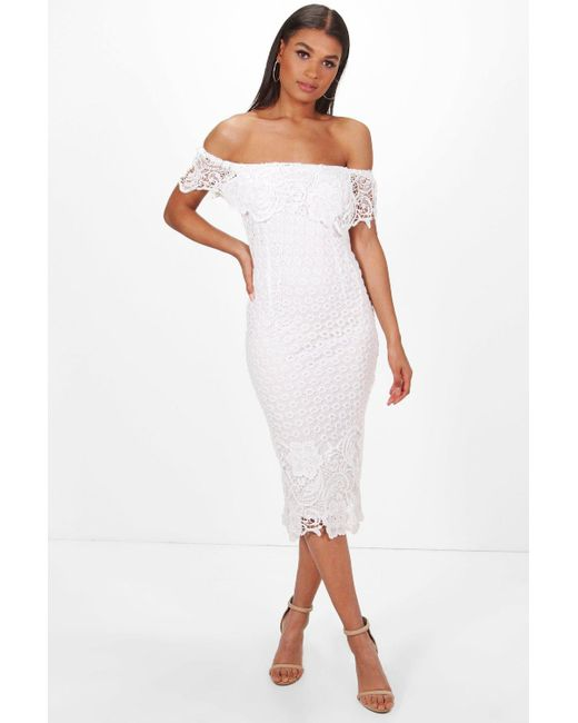 Boohoo - White Boutique Lace Off Shoulder Midi Dress - Lyst ... 981349bbae23
