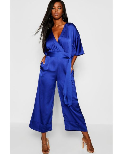 fb567e3616dd Boohoo - Blue Satin Kimono Sleeve Jumpsuit - Lyst ...