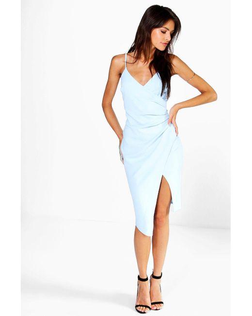 Boohoo - Blue Strappy Wrap Pleated Bodycon Midi Dress - Lyst ... 62f0d8f35076