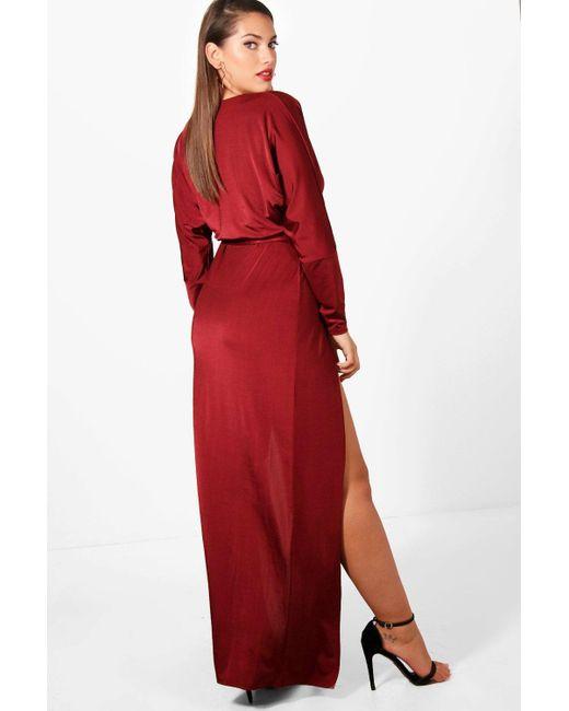 0bda9aeede36 ... Boohoo - Red Plus Slinky Plunge Split Maxi Dress - Lyst