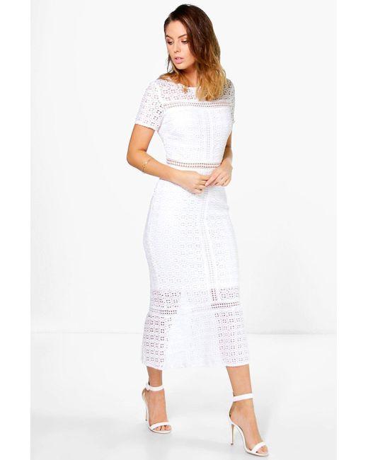 Boohoo - Black Boutique Crochet Midi Dress - Lyst