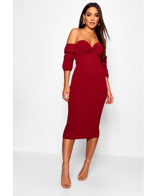 9dc2664b5928 Boohoo - Red Off The Shoulder Twist Detail Midi Dress - Lyst ...