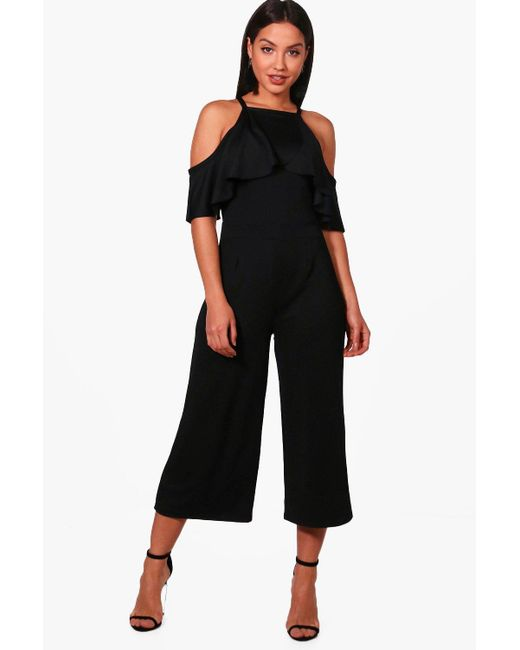 8c86ac90b49 Boohoo - Black Open Shoulder Frill Detail Culotte Jumpsuit - Lyst ...