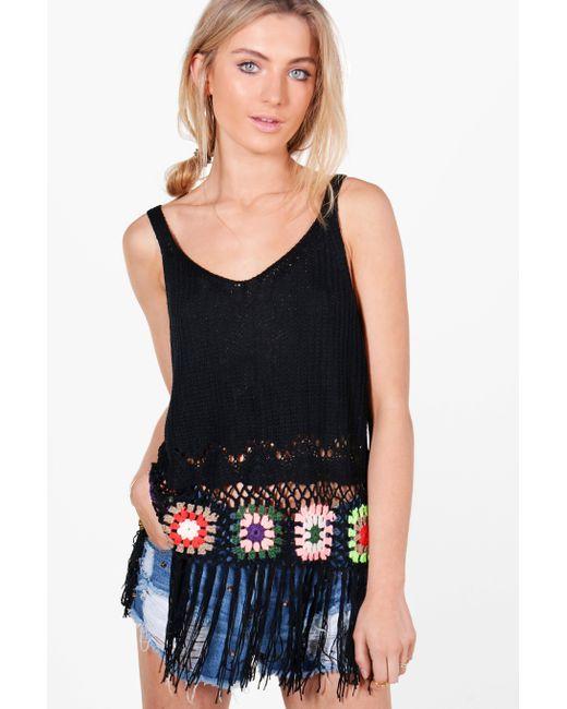 Boohoo | Black Maisie Multi-colour Crochet Tassel Hem Vest | Lyst