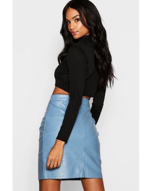 a4f7d40a9a ... Boohoo - Black Tall Mock Horn Button Faux Leather Mini Skirt - Lyst ...