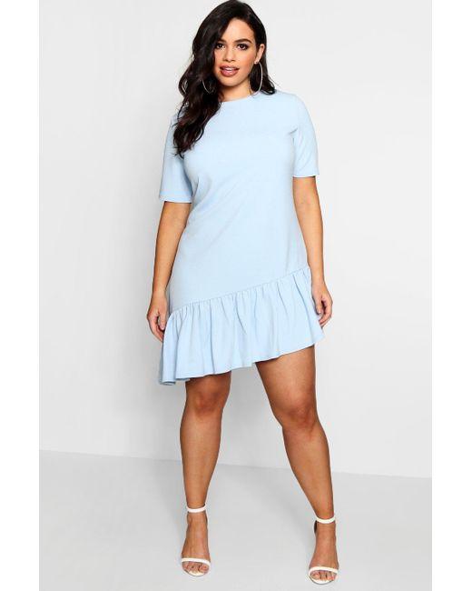 6a3ba7b9a317 Boohoo - Blue Plus Asymmetric Hem Shift Dress - Lyst ...