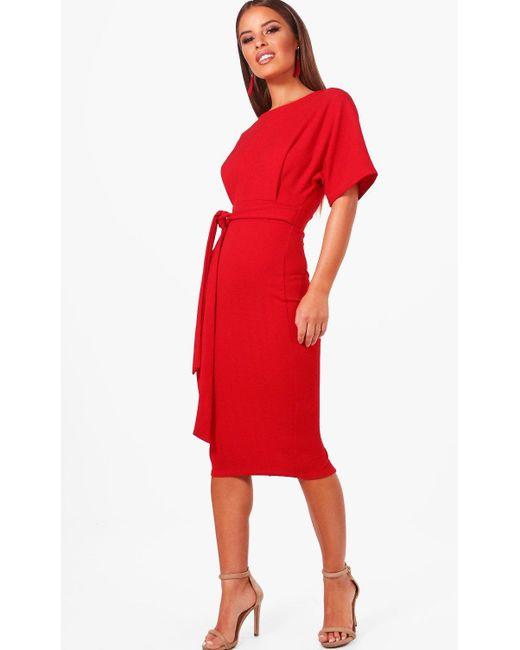 Boohoo - Red Petite Tie Waist Formal Wiggle Midi Dress - Lyst