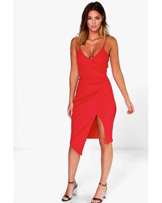bf630f861fa2 Boohoo - Red Strappy Wrap Pleated Bodycon Midi Dress - Lyst ...
