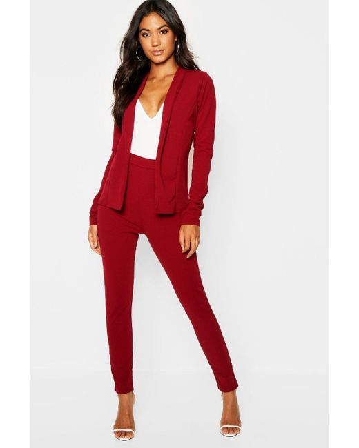 Boohoo - Red Crepe Fitted Suit - Lyst