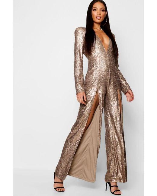 afd5b654e6c Boohoo - Metallic Boutique Long Sleeve Plunge Sequin Split Jumpsuit - Lyst  ...