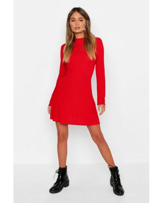 37688920753b2 Boohoo - Red High Neck Long Sleeve Swing Dress - Lyst ...