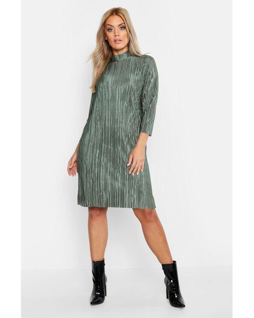 94fd4dd75168 Boohoo - Green Plus High Neck Plisse Shift Dress - Lyst ...