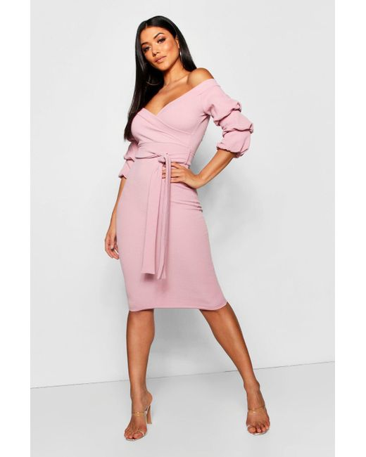 213be466b75 Boohoo Off The Shoulder Sleeve Detail Midi Dress in Pink - Save 5 ...