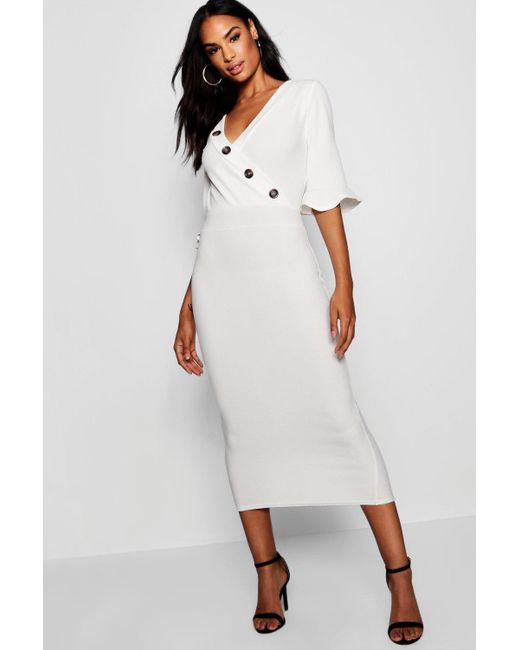 0ef224f4764f3 Boohoo - White Tall Horn Button Off The Shoulder Wrap Midi Dress - Lyst ...