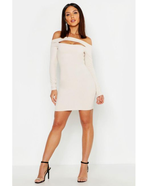 4e14b0aa4f752 Boohoo - Natural Crepe Slash Front Long Sleeve Bodycon Dress - Lyst ...