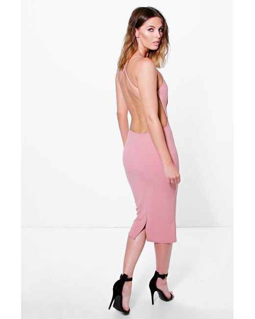 Boohoo | Pink Pia Crepe Strappy Open Back Detail Midi Dress | Lyst