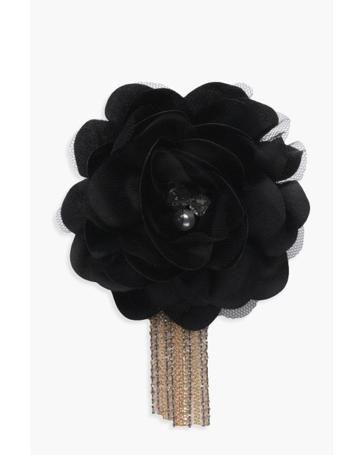 Boohoo | Black Kate Floral Embellished Diamante Chain Brooch | Lyst