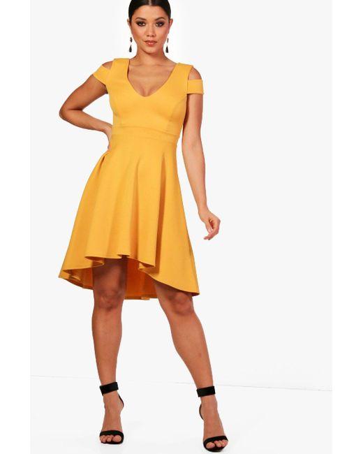 Boohoo - Yellow Clea Bardot Plunge High Low Skater Dress - Lyst