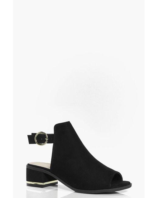 Boohoo | Black Mia Metallic Trim Peeptoe Shoe Boot | Lyst