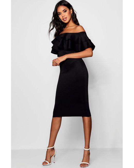 e3bc1eb3b783 Boohoo - Black Bardot Layered Frill Detail Midi Dress - Lyst ...