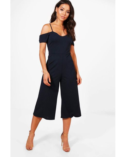e59dcd59fbad Boohoo - Blue Off The Shoulder Culotte Jumpsuit - Lyst ...