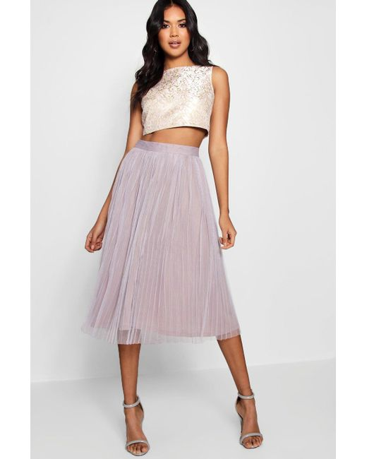 Boohoo - Pink Boutique Jacquard Top Midi Skirt Co-ord Set - Lyst