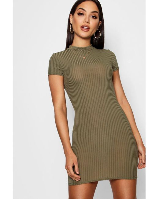 43a331295c8 Boohoo - Green High Neck Cap Sleeve Rib Bodycon Dress - Lyst ...