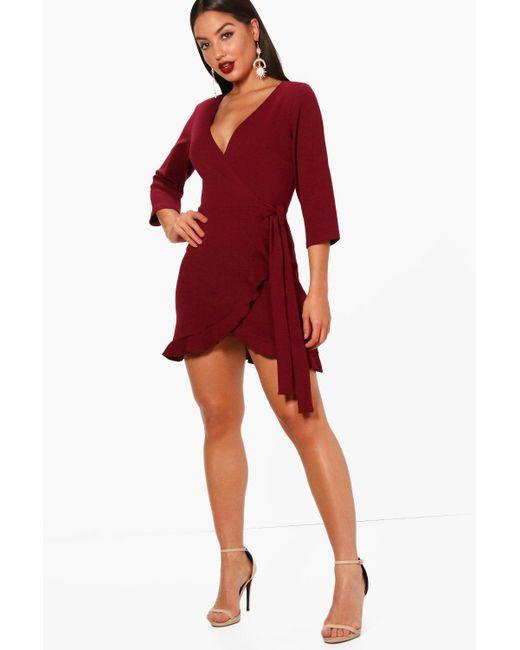 Boohoo - Red Formal Tie Wrap Frill Detail Skater Dress - Lyst ... d32518f49