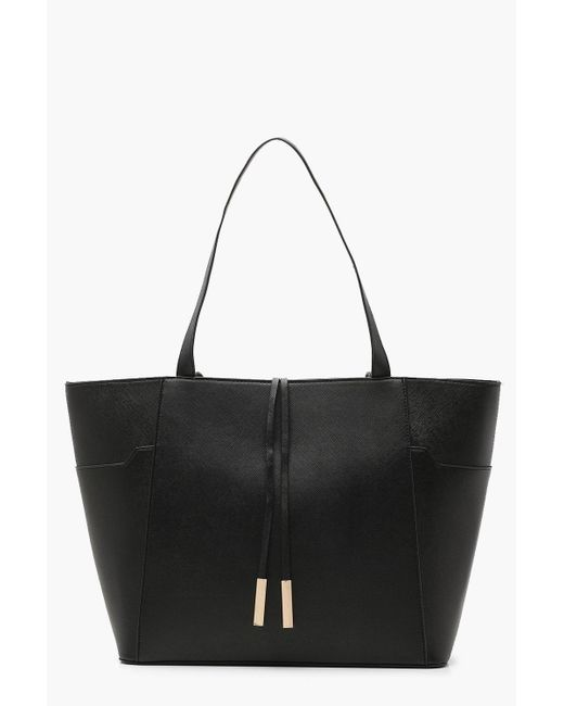 Boohoo - Black Structured Crosshatch Tote Bag - Lyst
