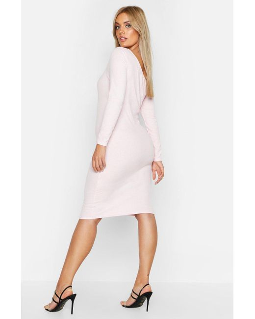 5e27d1d5342 ... Boohoo - Pink Plus Ribbed Asymmetric Bodycon Midi Dress - Lyst