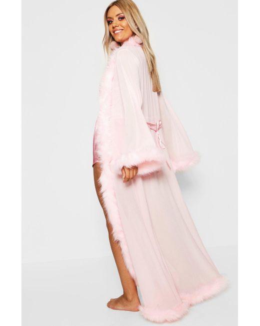32406ca85616 ... Boohoo - Pink Plus Gemma Collins Kimono Robe With Fluffy Trim - Lyst