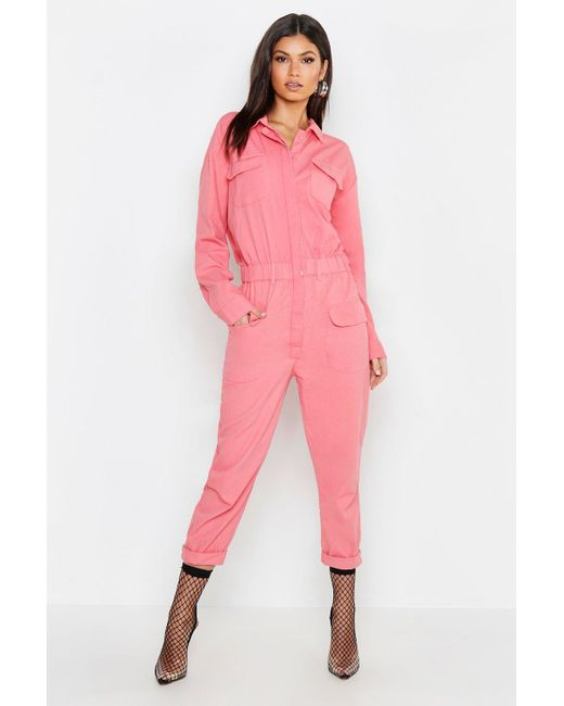 160d2d5766 Boohoo Pink Utility Denim Boilersuit in Pink - Lyst