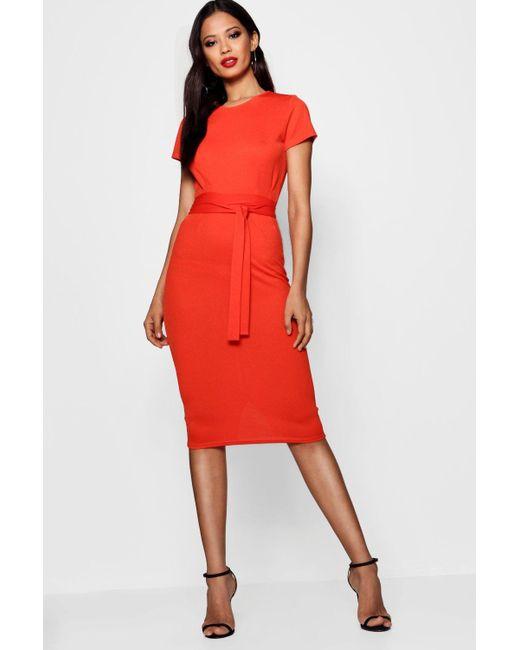 Boohoo - Orange Eva Pleat Front Belted Tailored Midi Dress - Lyst