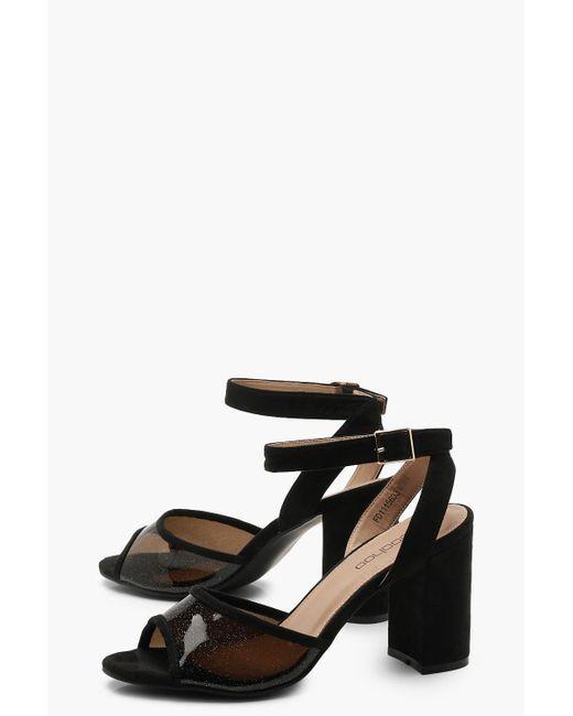 a83d1789e65 ... Boohoo - Black Clear Insert Block Heel 2 Part Heels - Lyst