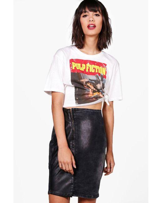 Boohoo | Black Carly Asymmetric Zip Front Bodycon Denim Skirt | Lyst
