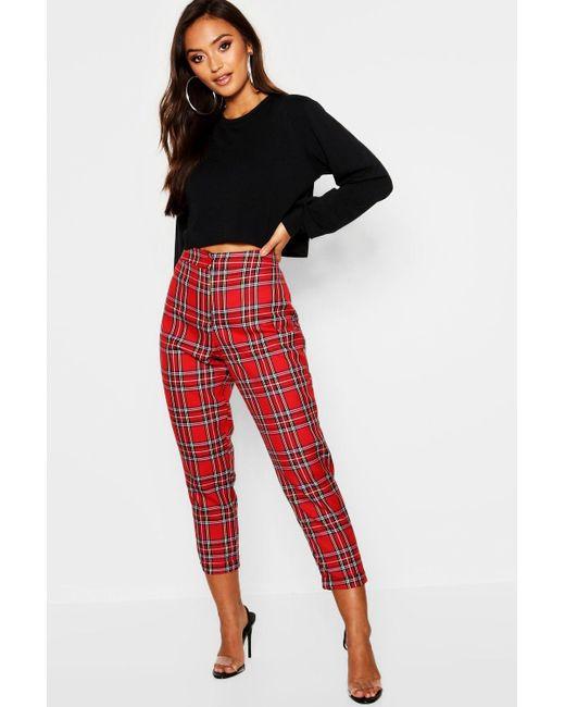297442478e20 Boohoo - Red Tartan Check Skinny Trousers - Lyst ...