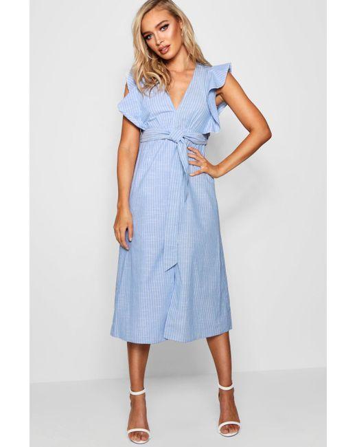 fb177d020d6c Boohoo - Blue Ruffle Shoulder Stripe Skater Dress - Lyst ...